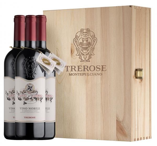 Tre Rose, Vino Nobile di Montepulciano Santa Caterina DOCG 2016, 3er Holzkiste